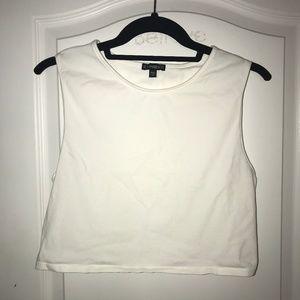 Basic White Sleeveless Crop Top